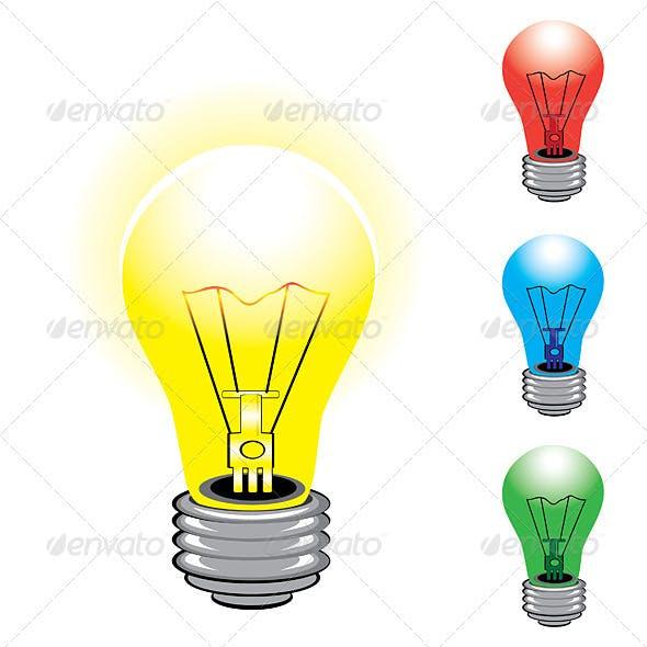 Set of colorful light bulbs