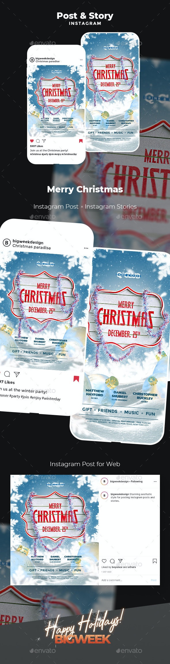 Christmas Instagram - Social Media Web Elements