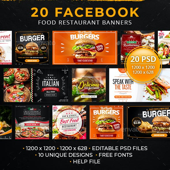 20 Facebook Food Restaurant Banners