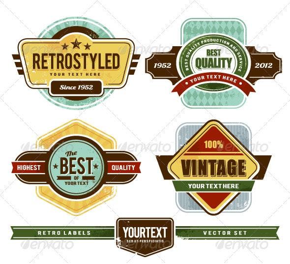 Vector set of grunge retro badges - Retro Technology