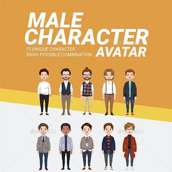 Male Character Avatar Vector Pack