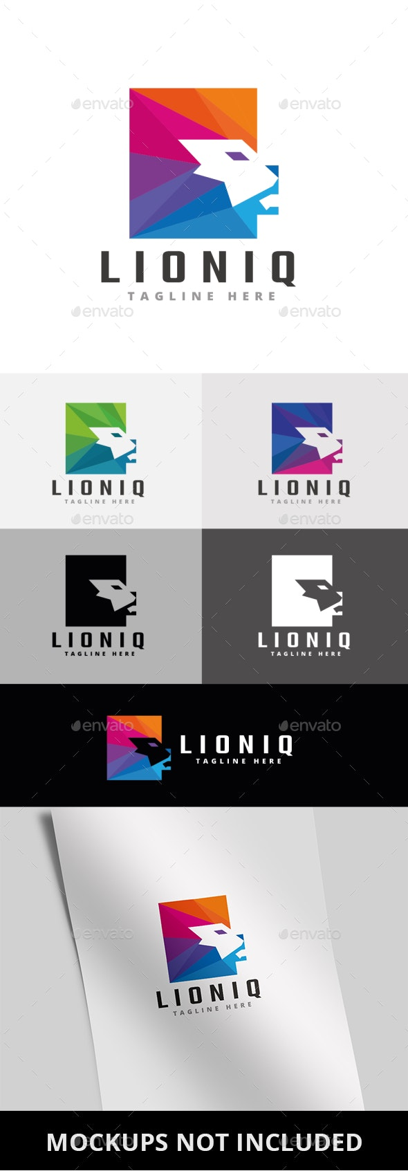 Square Lion Head Logo - Animals Logo Templates