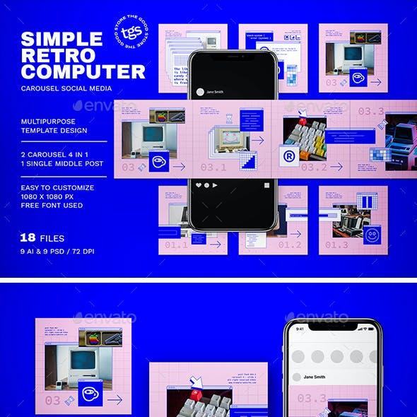 Simple Retro Computer Carousel Social Media Pack