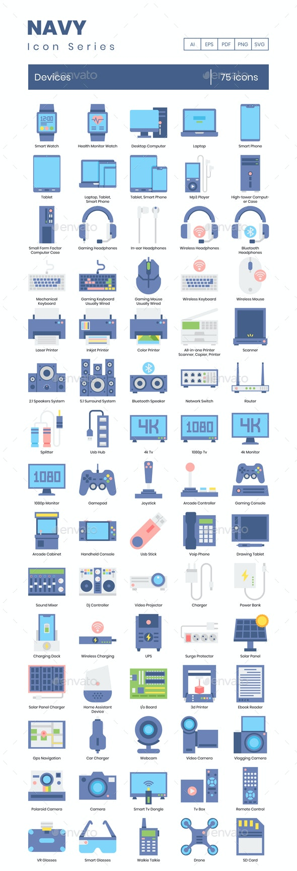 75 Devices Icons | Navy Series Series - Icons