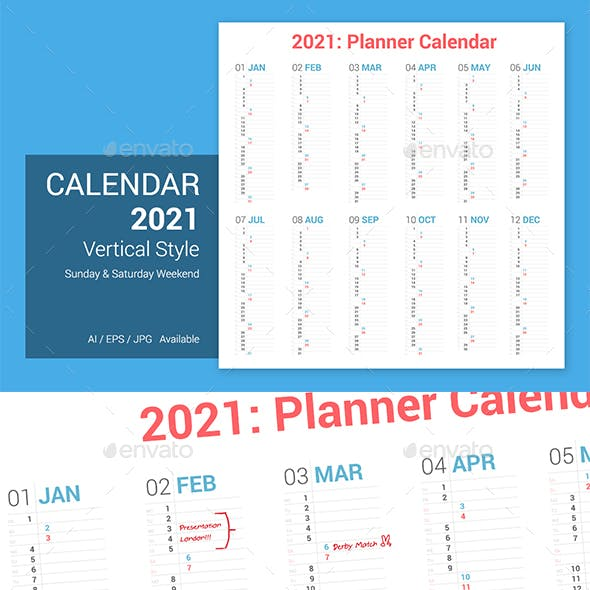 Calendar 2021 Vertical Design