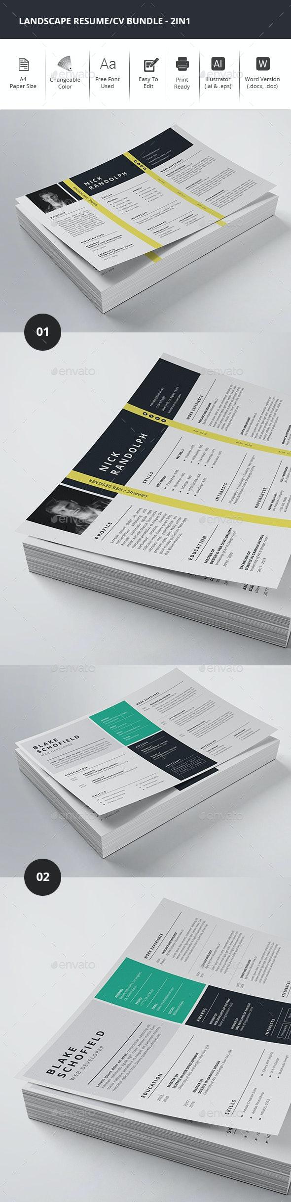 Landscape Resume/CV Bundle - 2in1 - Resumes Stationery