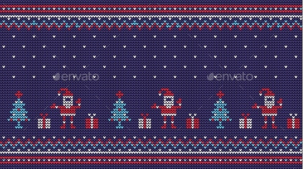 Christmas Knitted Pattern with Santa Gifts and - Christmas Seasons/Holidays