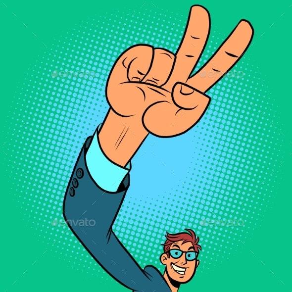 Victory Hand Gesture Positive Businessman - Concepts Business