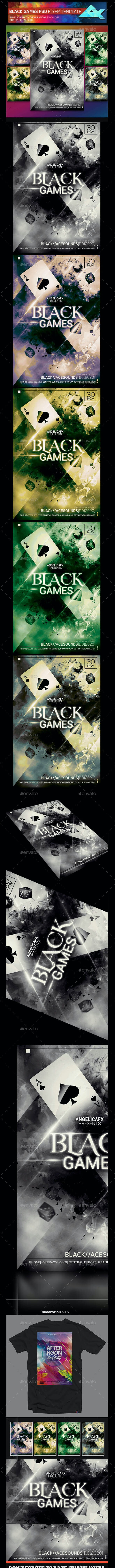 Black Games Photoshop Flyer Poster Template - Events Flyers