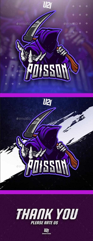 Poisson Reaper Mascot Gaming Logo - Sports Logo Templates