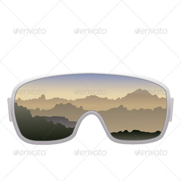 Ski goggles isolated on white background