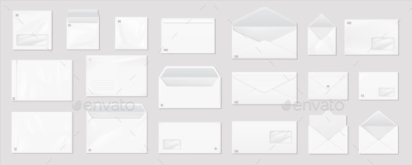 White Envelope Realistic Mail Mockup - Man-made Objects Objects