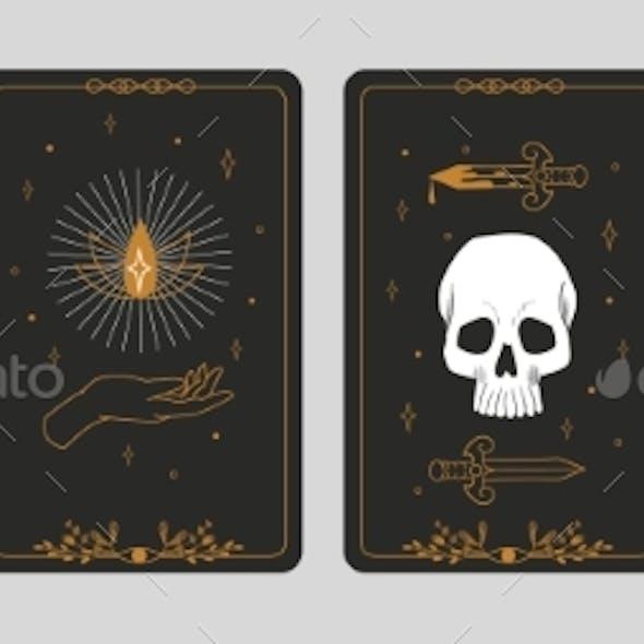 Tarot Cards. Boho Banners. Vintage Spiritual Signs
