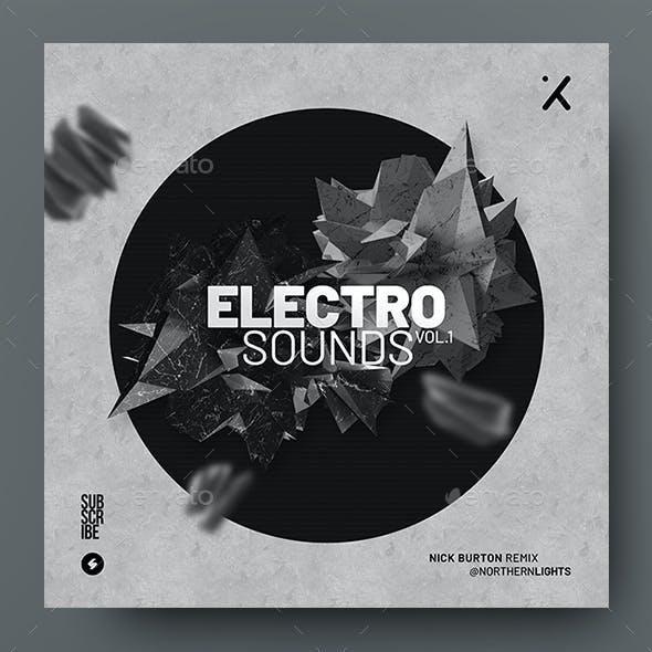 Electro Sounds – Music Album Cover Artwork / Video Thumbnail Template