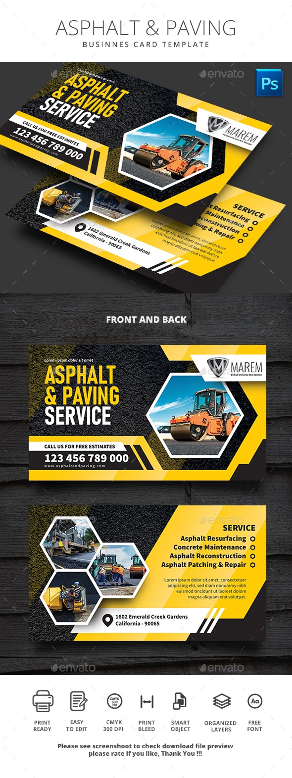 Asphalt and Paving Service Business Card - Business Cards Print Templates
