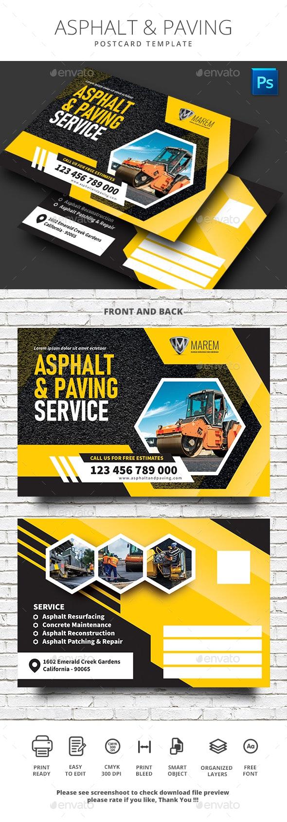 Asphalt and Paving Service Postcard - Cards & Invites Print Templates