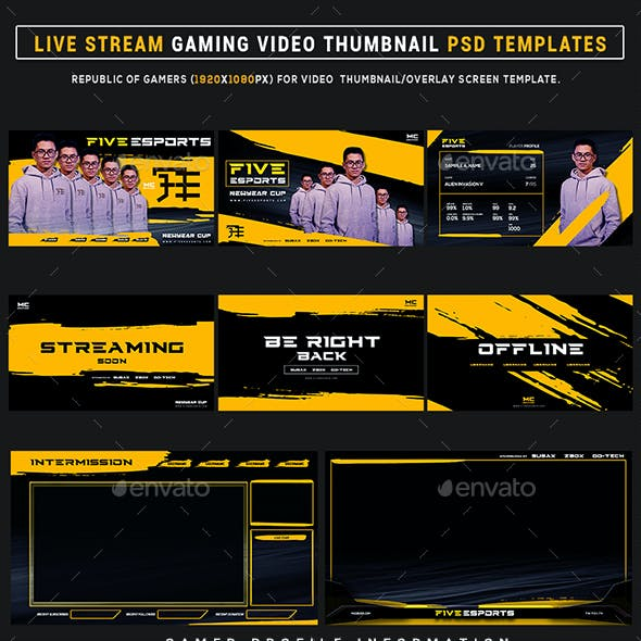 Five Esports Live Stream Gaming Video Thumbnail / Banner Overlay Photoshop Templates
