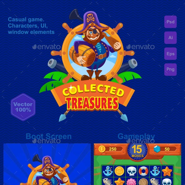 Collected Treasures Match 3 Game Asset