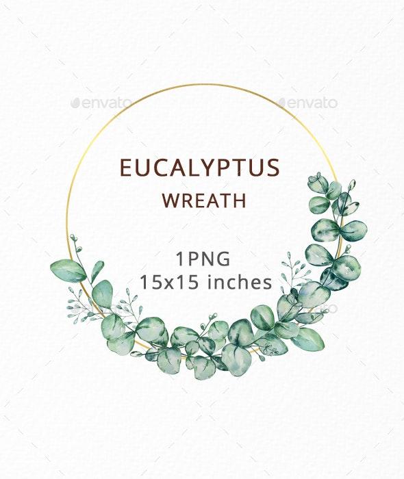 Watercolor Eucalyptus Wreath Clipart, Greenery wreath - Objects Illustrations