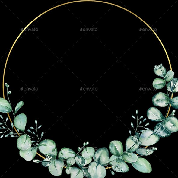 Watercolor Eucalyptus Wreath Clipart, Greenery wreath