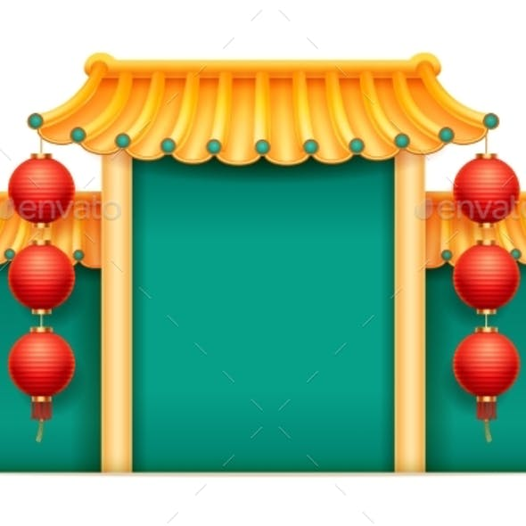 Temple with Bamboo Roof in Chinese Style Isolated