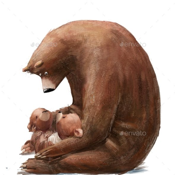 Cute Bear with Two Little Teddy Bears