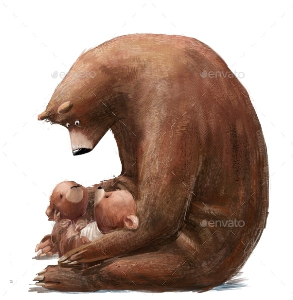 Cute Bear with Two Little Teddy Bears - Animals Illustrations
