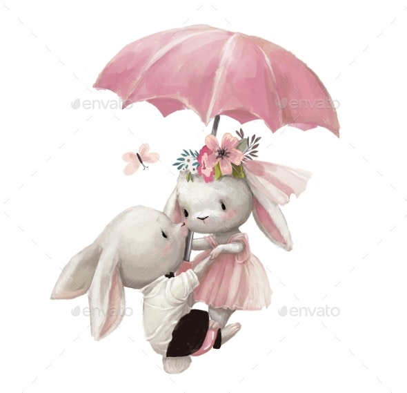 Cute Wedding Couple of Hares Fly with Umbrella - Animals Illustrations
