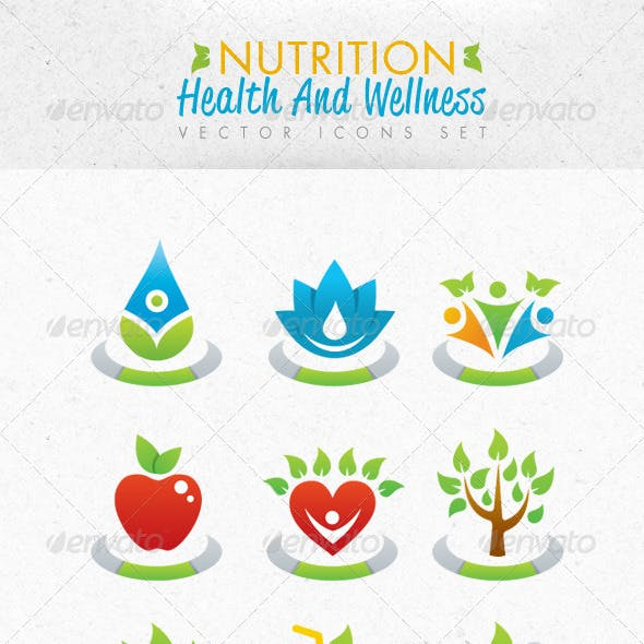Nutrition Health And Wellness Vector Icons Set