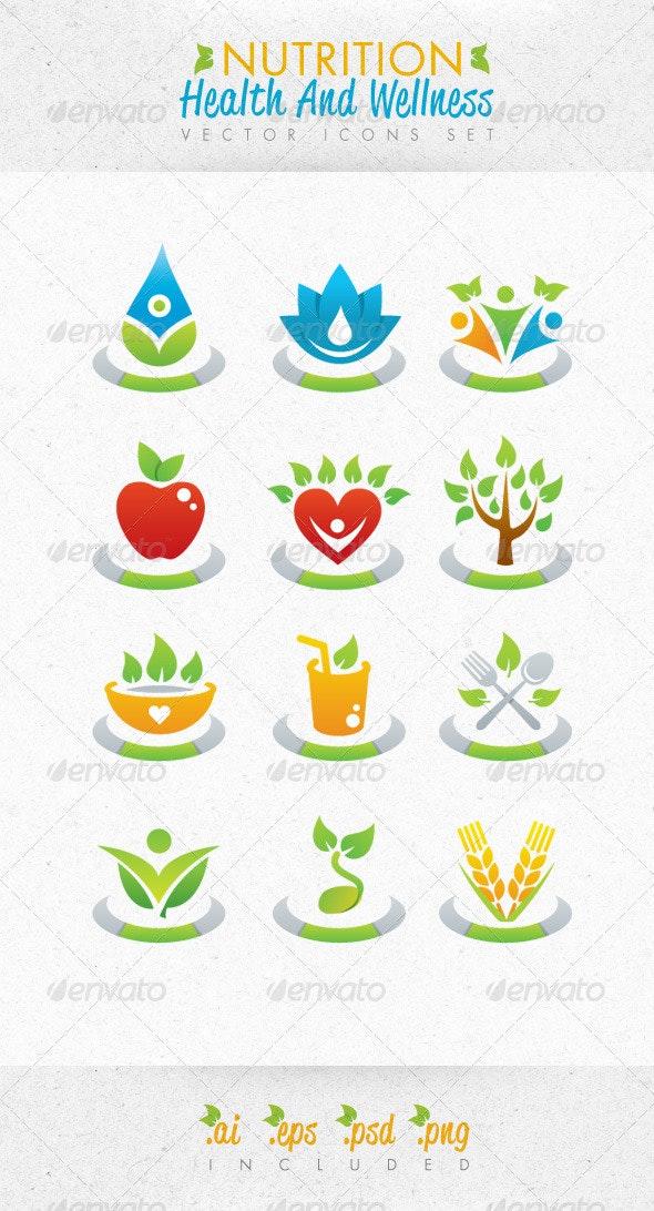 Nutrition Health And Wellness Vector Icons Set - Health/Medicine Conceptual