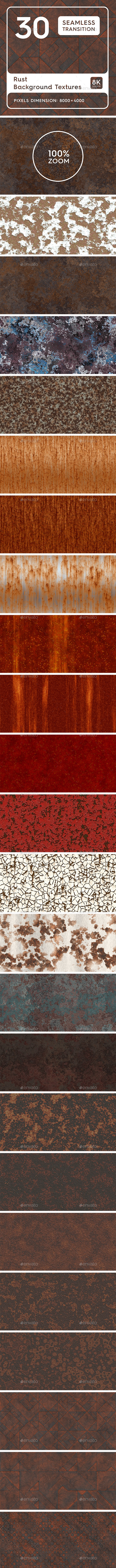 30 Rust Background Textures. Seamless Transition. - Metal Textures