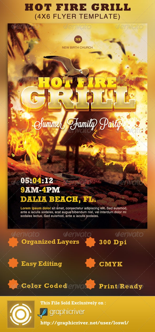Hot Fire Grill Flyer Template - Events Flyers