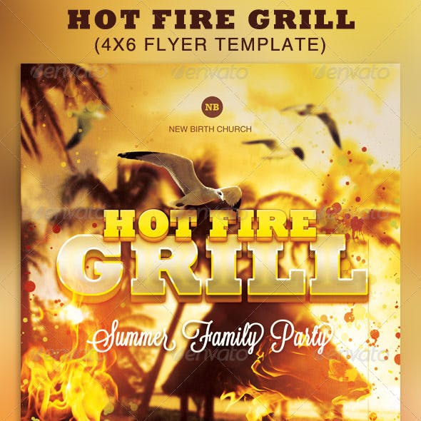 Hot Fire Grill Flyer Template