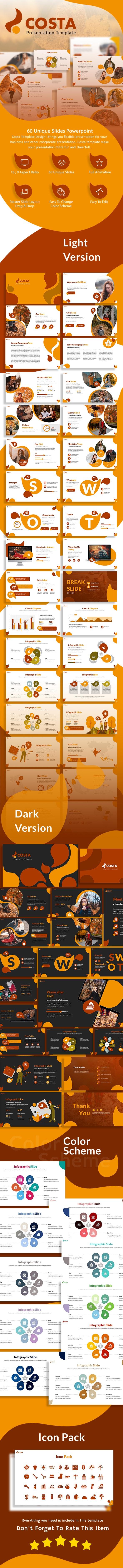 Costa Autumn Season Presentation Template - Creative PowerPoint Templates