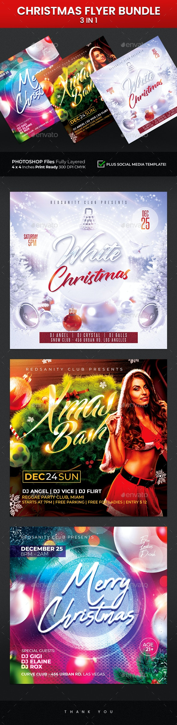 Christmas Flyer Bundle 3 in 1 - Holidays Events