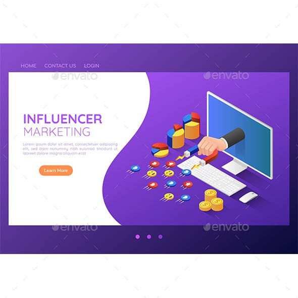 Isometric Web Banner Businessman Hand with Magnet Attracting Social Media Icon