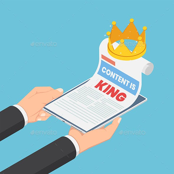 Isometric Businessman Hands Holding Smartphone with Content Is King in Web Page and Crown