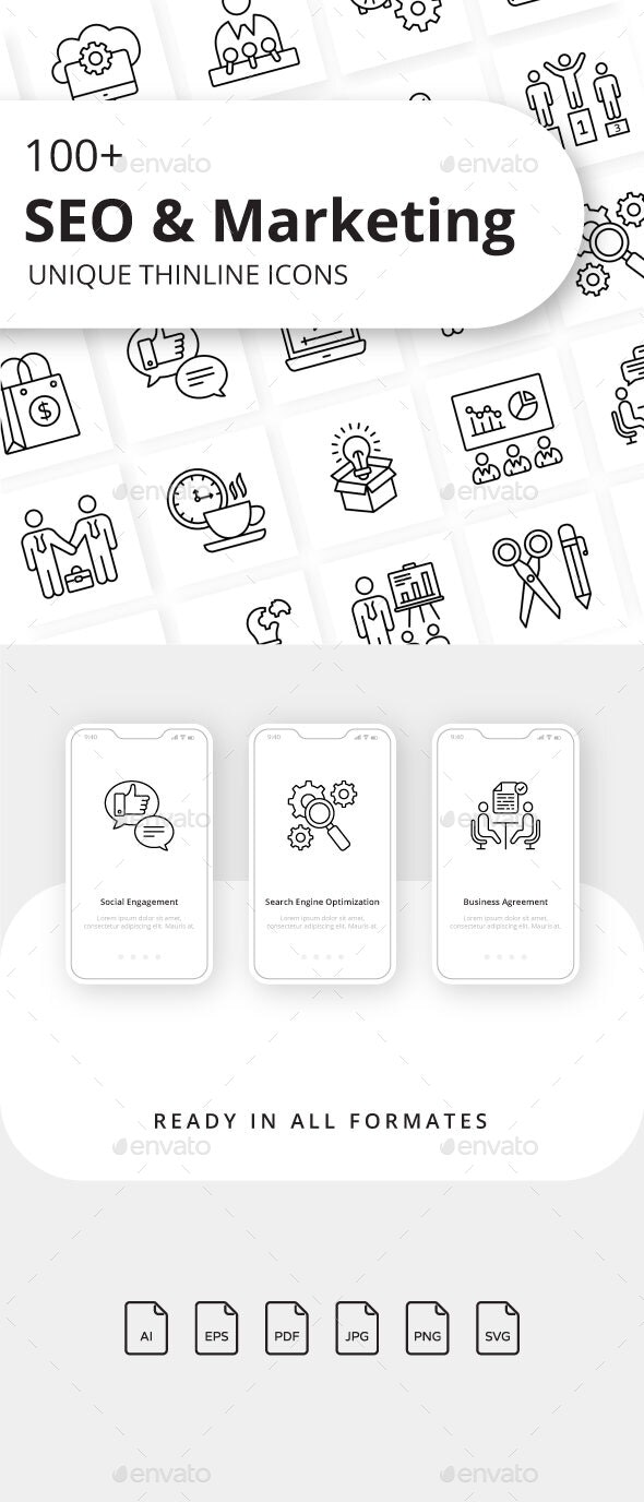 SEO and Marketing Outline Icons - Business Icons