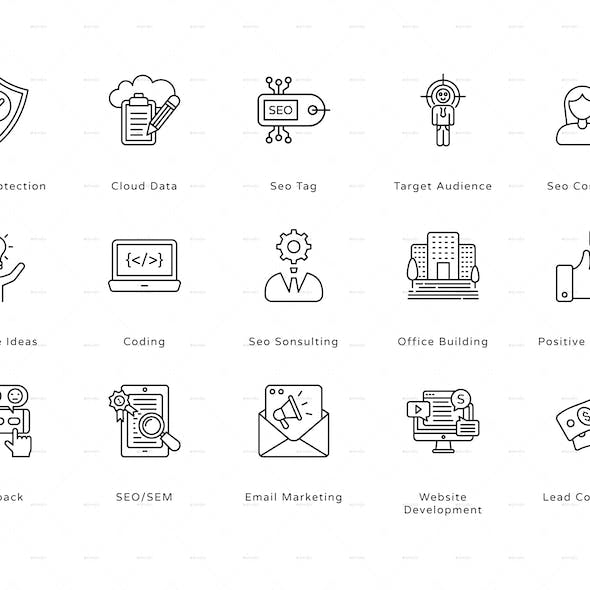 SEO and Marketing Outline Icons