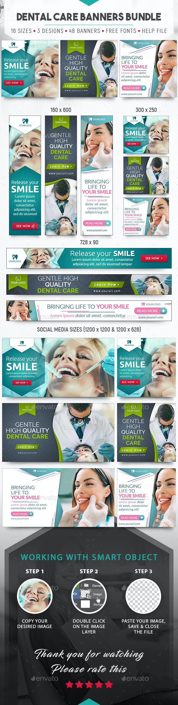 Dental Care Banners Bundle - Banners & Ads Web Elements