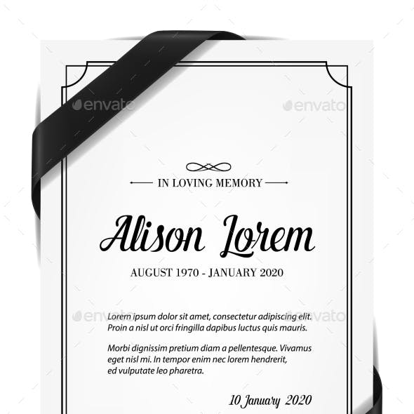 Funerary Card Template with Obituary and Ribbon