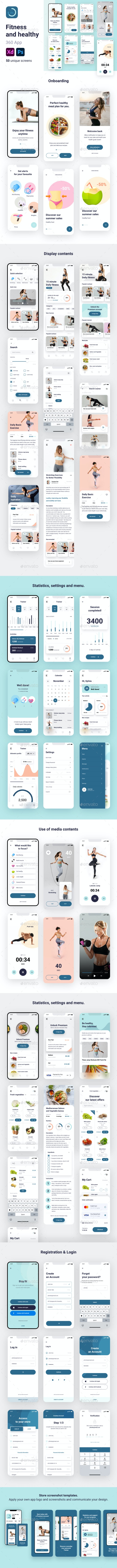 Fitness and healthy 360 App - User Interfaces Web Elements