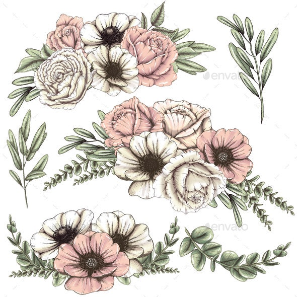 White and Blush Pink Roses and Poppies - Objects Illustrations