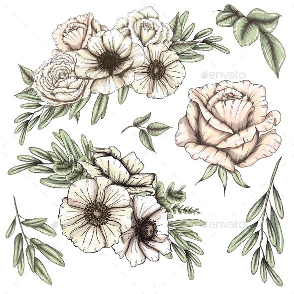 Lovely White Flowers, Wedding Design - Objects Illustrations