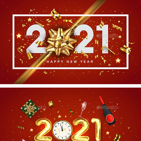 Happy New Year 2021greeting card