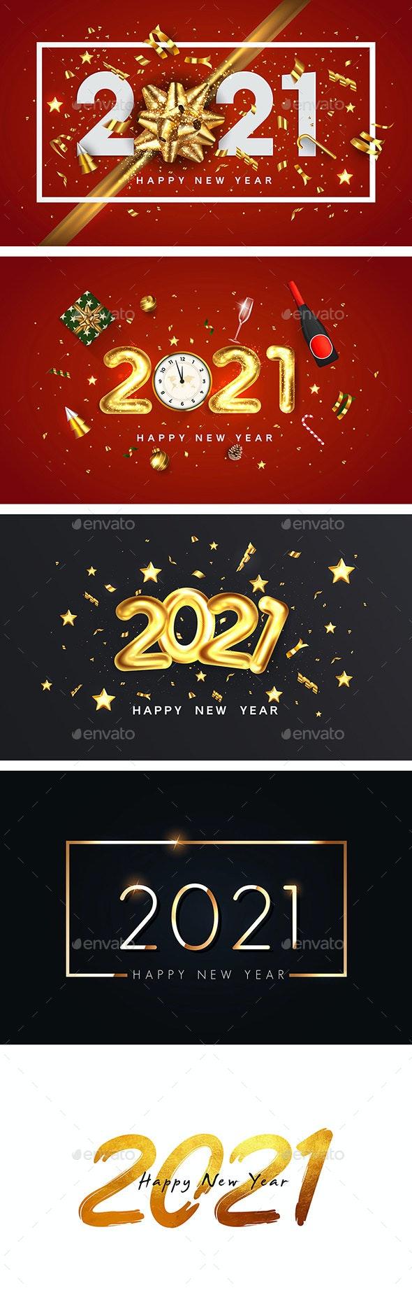 Happy New Year 2021greeting card - New Year Seasons/Holidays