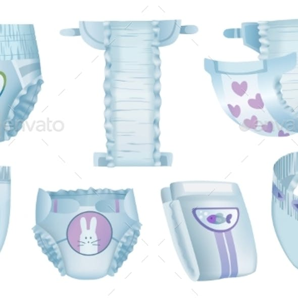 Baby Absorbent Diapers, Isolated on White