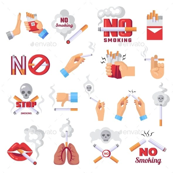 Cigarette Icons Dangerous From Smoke of Cigarettes