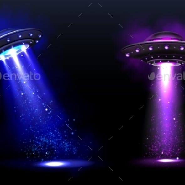 3d UFO, Vector Alien Space Ships with Light Beams