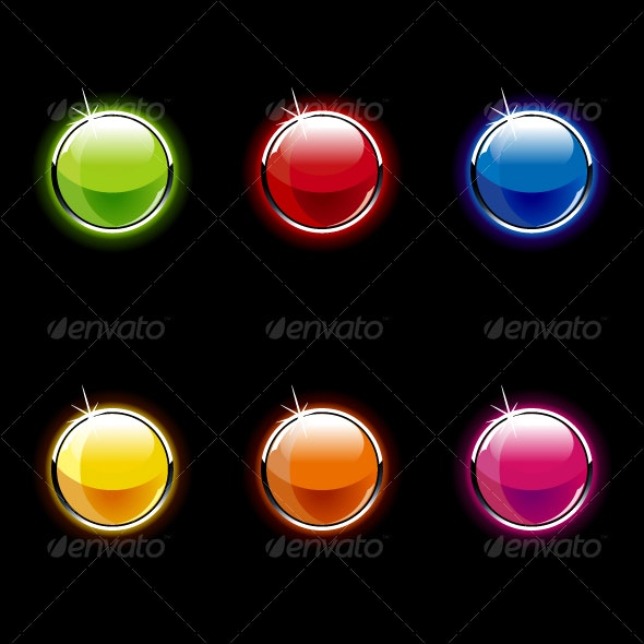 Set of Glass Buttons - Web Elements